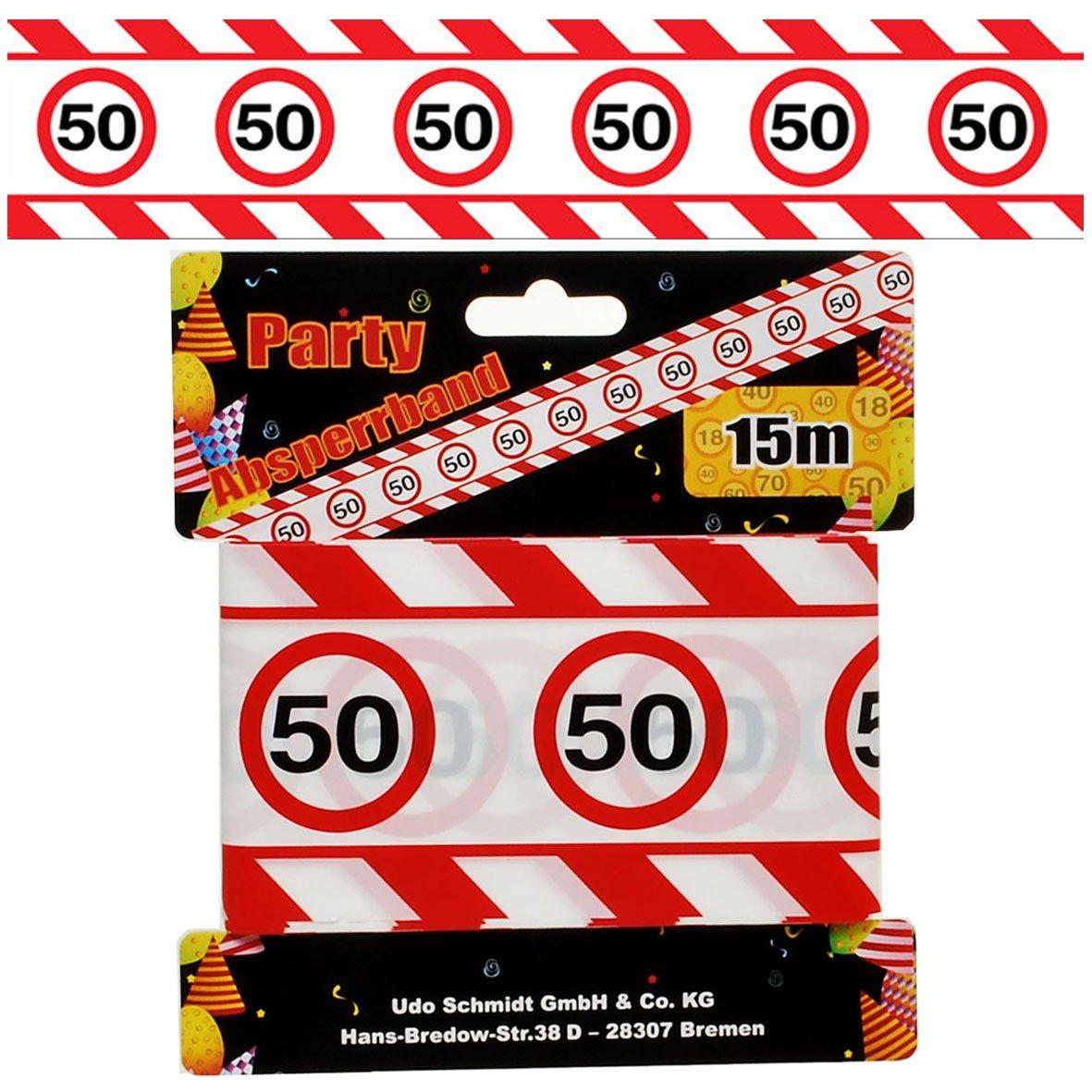 Cumpleaños banda 50 años Fiesta Decoración Señal de tráfico Longitud 15 M