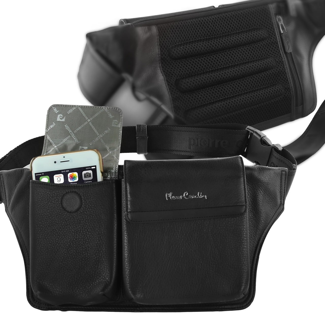 Pierre Cardin Genuine Leather Black Waist Running Belt Bum Bag Fanny Pack Pouch for Apple iPhone 6 6s / iPhone 6s Plus by Pierre Cardin