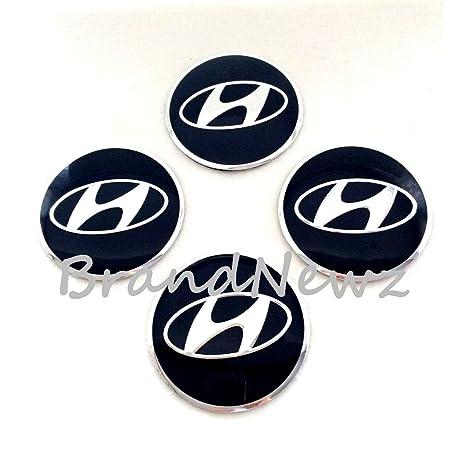 Hyundai cromo negro 3d emblema rueda Centro Tapa Adhesivo Logo Badge – Tapacubos (56,