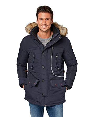 Tom Tailor Herren Parka mit Kapuze in gelb