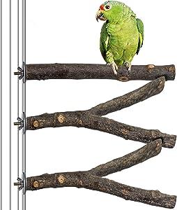 BIKOM 3 PCS Natural Wood Perches for Bird Cages, Bird Toys Parakeet Perch Bird Supplies Bird Cage Branches Cage Accessories
