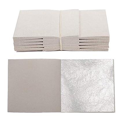 100 fogli vera Foglia d\' argento 5 x 5 cm in vero argento: Amazon.it ...