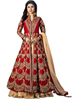 SareeShop Women's Gown Latest Party Wear Design Georgette Embroidery Semi Stitched Free Size Salwar Suit Dress Material (MayuriRed)