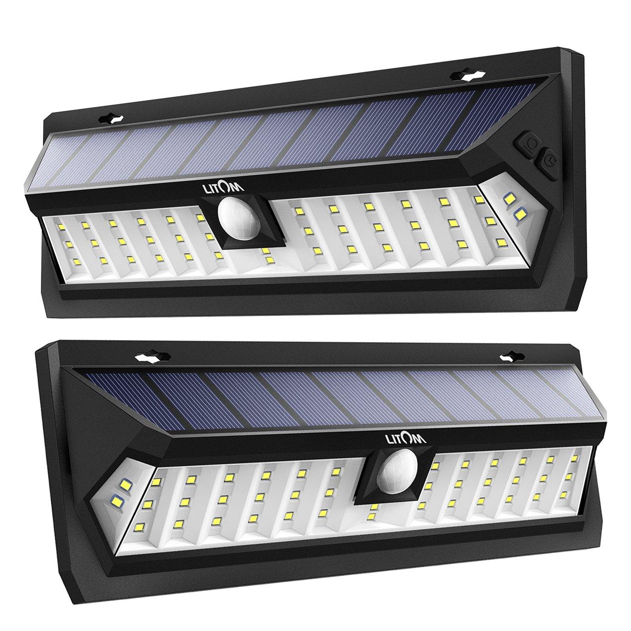 LITOM Solar Lights Outdoor 42 LED, Adjustable Lighting Time Solar Motion Sensor Light with 270° Wide Angle and Waterproof Design, Wireless Solar Lighting for Front Door, Yard, Garage, Deck (2 Pack)