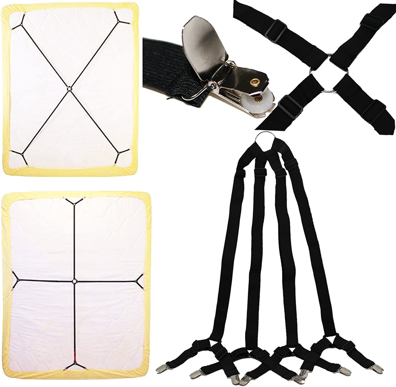 Yaobabymu 2pcs Sheet Bed Suspenders Adjustable Crisscross Fitted Sheet Band Straps Grippers Adjustable Mattress Pad Duvet Cover Sheet Corner Holder Elastic Fasteners Clips Clippers