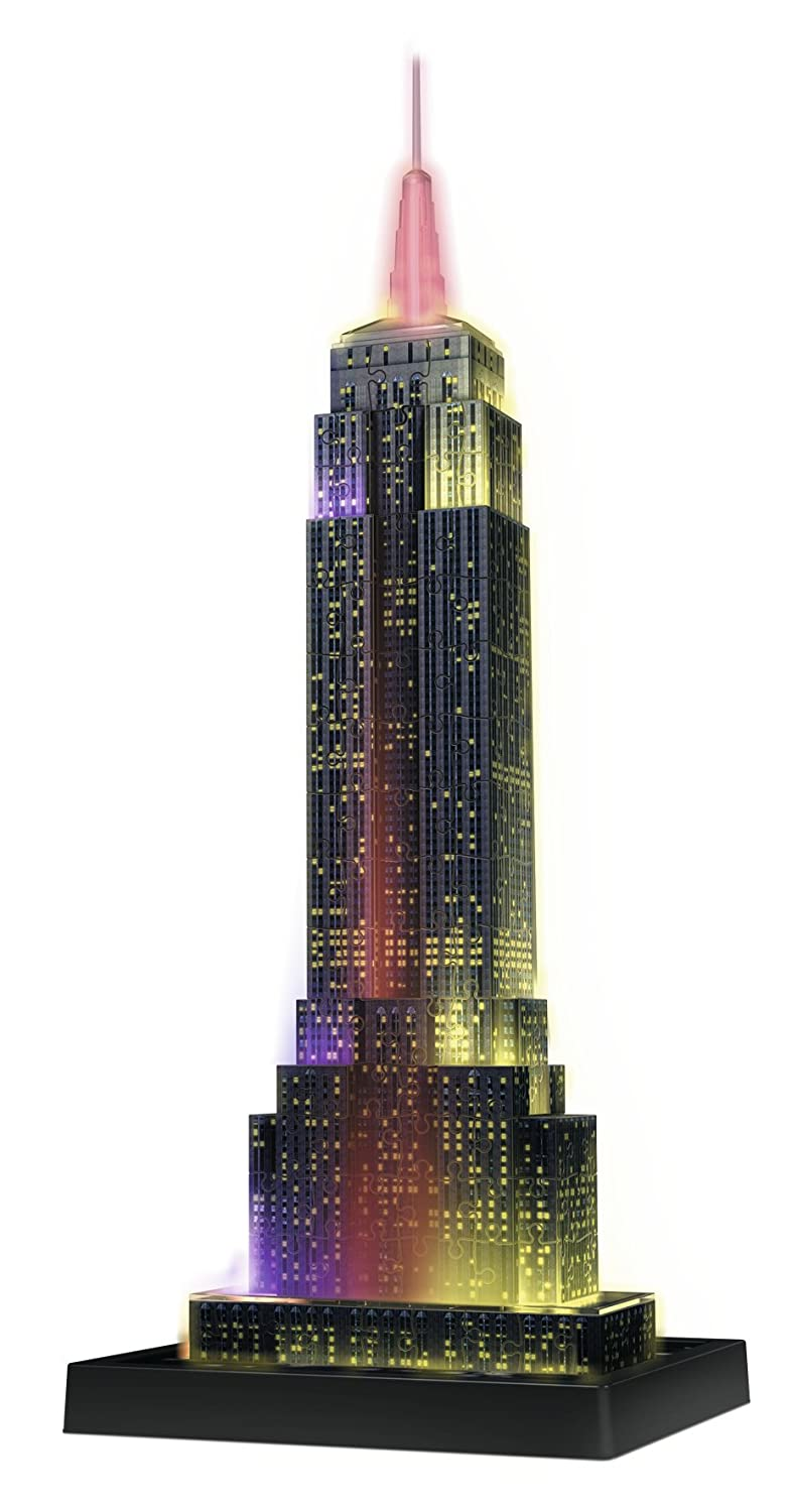 Ravensburger Empire State Building - Night Edition - 216 Piece 3D Jigsaw Puzzle for Kids and Adults - Easy Click Technology Means Pieces Fit Together Perfectly 12566 1