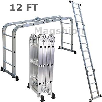Goliraya 7 en 1 Multi-Purpose Ladder Folding Scaffold Plataforma de Trabajo de Escalera de Aluminio con Bisagra de Bloqueo de Seguridad M//A//Escalera en Forma//Escalera de Extensi/ón