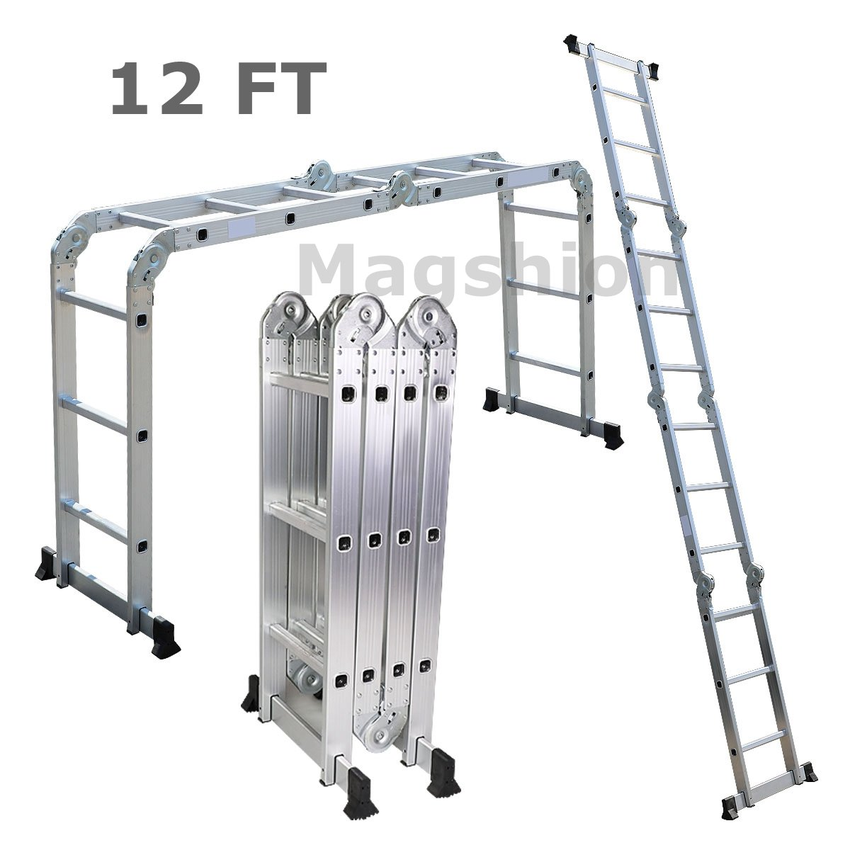 Multi Purpose Aluminum Ladder Step Scaffold Ladder Extendable Platform (12.17 FT)