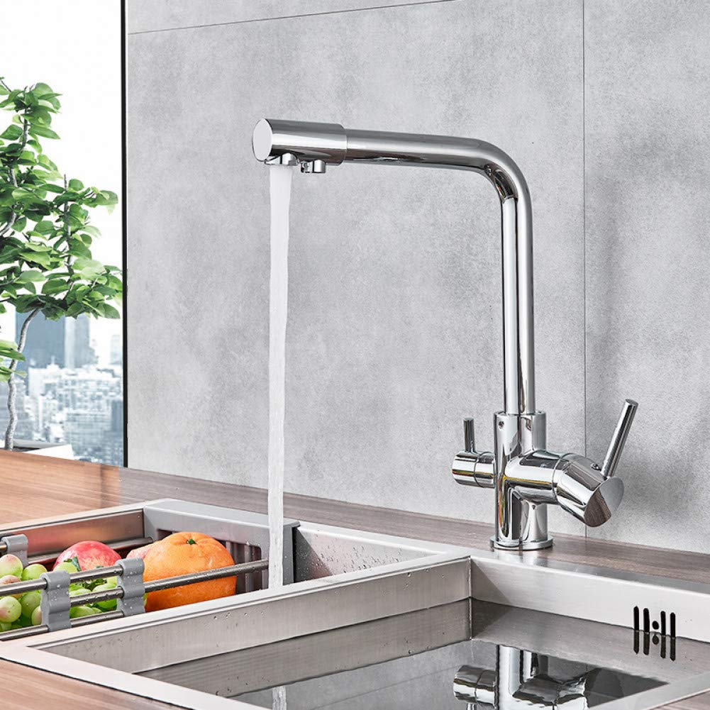 YHSGY Bathroom Sink Taps Chrome Waterfilter Taps Kitchen Faucets Mixer Drinking Water Filter 3 Way Kitchen Faucet Sink Tap H C Water Mixer Tap