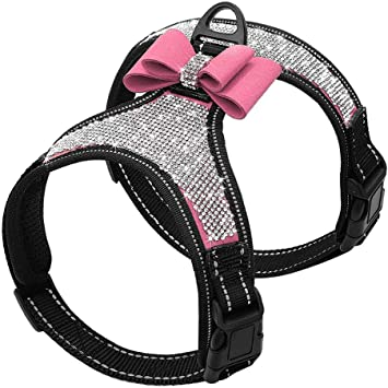 Luckyoiu Arneses Reflectantes para Perros Chaleco Bling Rhinestone ...