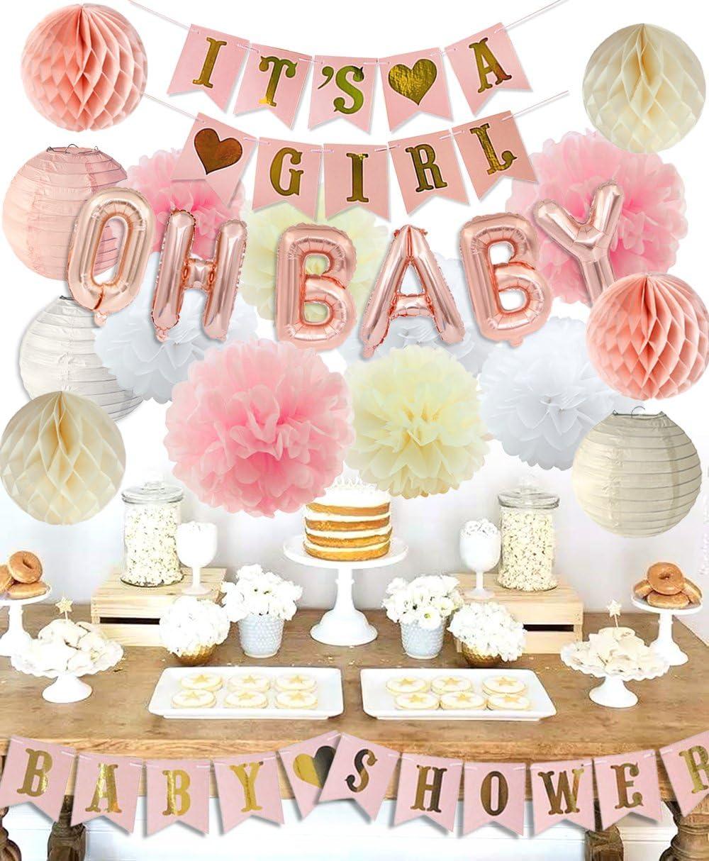 Classroom Nursery Birthday Festival Decor Baby Shower Paper Rosette Fans Red Lantern Chinese Paper Pom Pom Flower 6 pcs Kit for Wedding