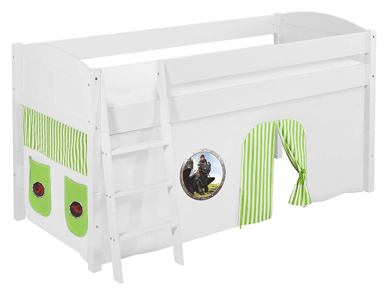 Lilokids Spielbett IDA 4106 Dragons Grün - Teilbares Systemhochbett weiß - mit Vorhang