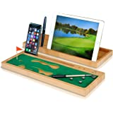 Arete Desktop Mini Golf for Office - Desk Organizer, Phone and Tablet Holder, Bamboo Serving Wood Caddy and Pen Holder