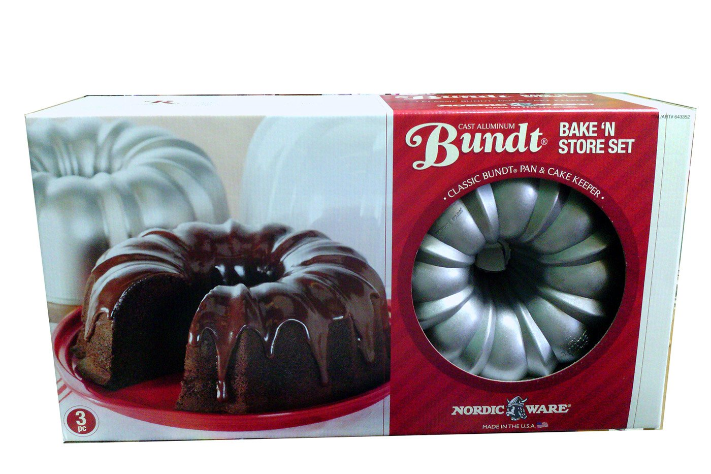 Nordic Ware Cast Aluminum Bundt Bake and Store 3pc Set