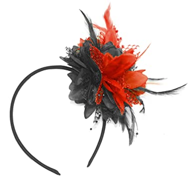 Image Unavailable. Image not available for. Colour  Black and Red Fascinator  on Headband ... bef538dabd7