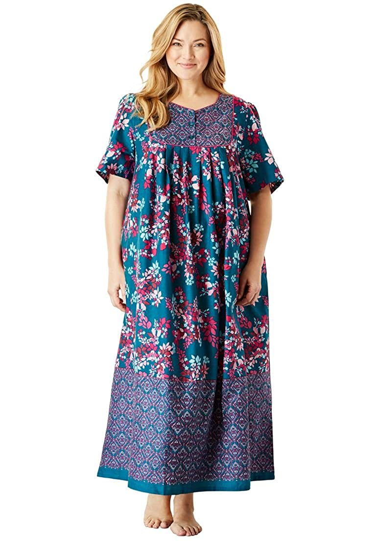 Only Necessities Womens Plus Size Mixed Print Long Lounger
