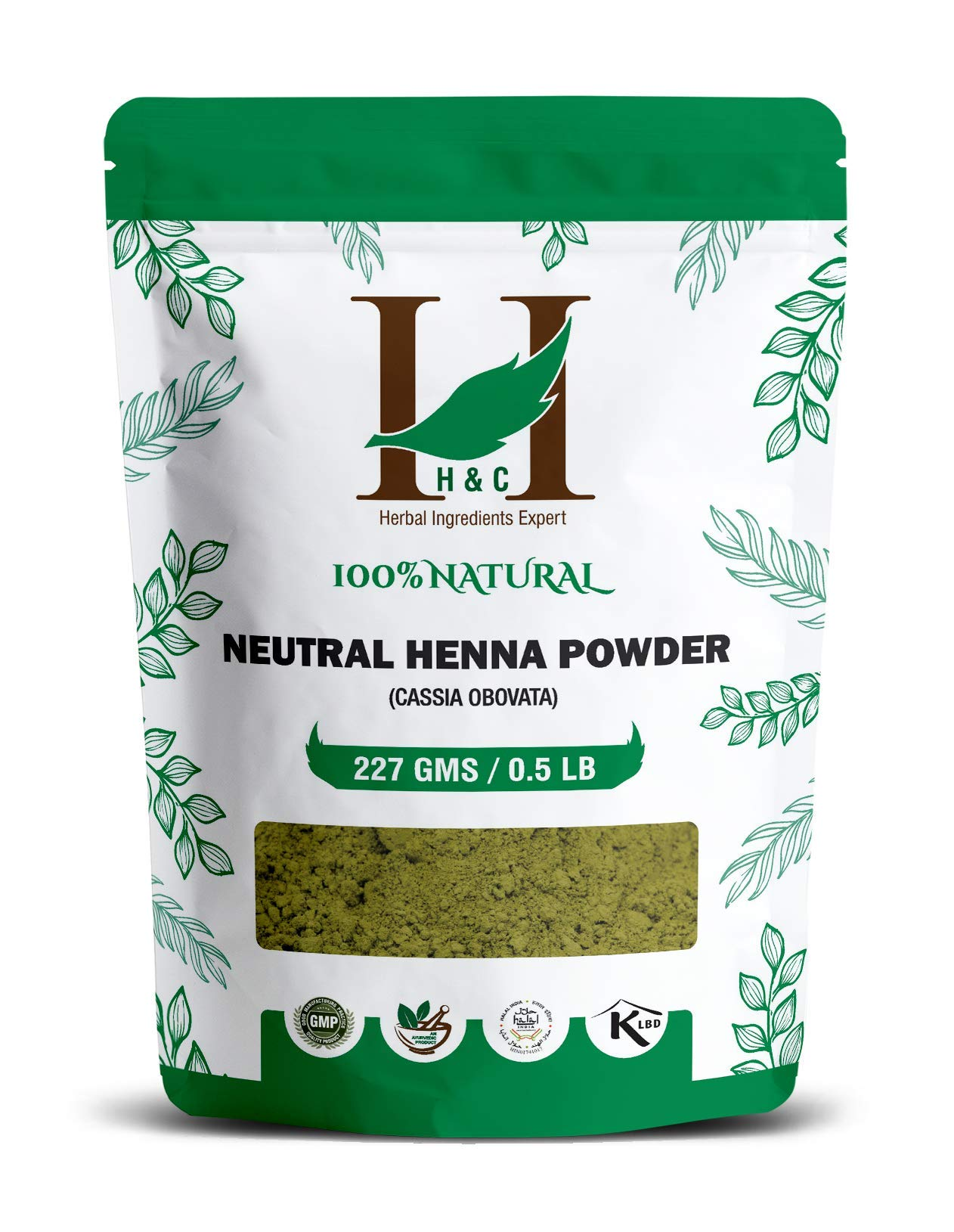 H&C 100% Pure Natural Organically Grown Neutral Henna Powder / Colorless Henna / Senna Powder / Cassia Obovata (227g / (1/2 lb) / 8 ounces) For conditioning your hair without coloring. by H&C