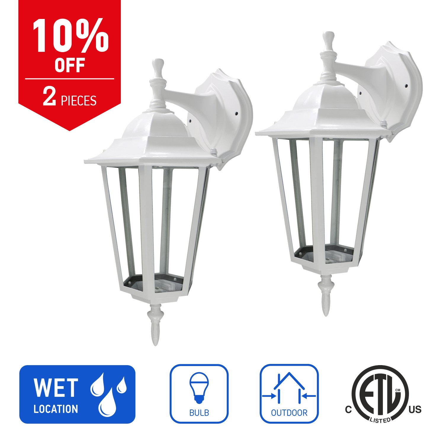 IN HOME 1-Light Outdoor Exterior Wall Down Lantern, Traditional Porch Patio Lighting Fixture L01 with One E26 Base, Water-Proof, White Cast Aluminum Housing, Clear Glass Panels, (2 Pack) ETL Listed