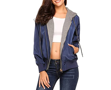 Habitaen Women Flight Hoodie Bomber Jacket Long Sleeve Fake Two Piece Zipper Coat,Blue,