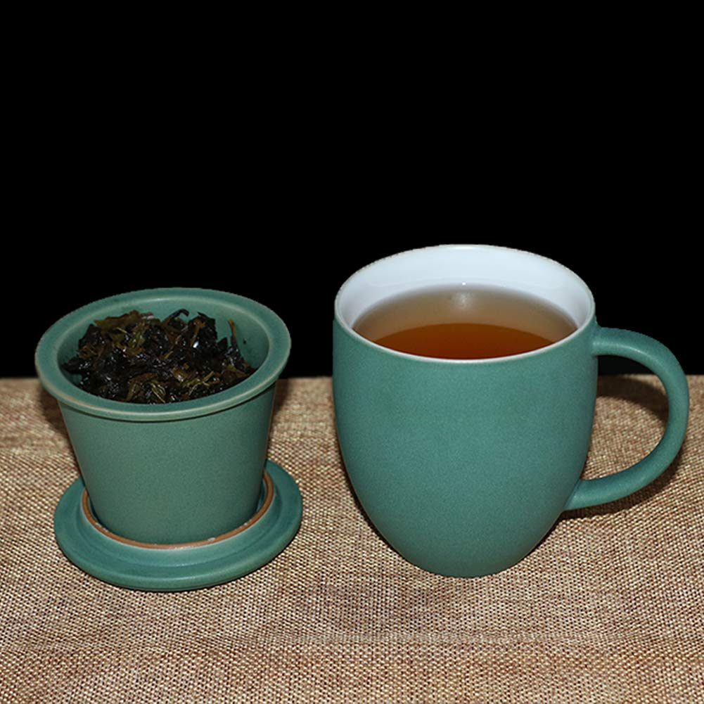 Sunddo Ceramic Tea Cup Pink Single Tea Infuser Mug Brewing Loose Cups with Coaster//Lid Coffee Mug Gifts for Women Men Tea Lovers 13 OZ