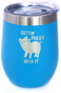 Gettin Piggy - Wine Tumbler Glass with Sliding Lid - Stainless Steel Insulated Mug - Cute Pig Decor Gifts - Sky Blue