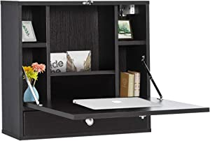 HOMCOM Wall Mounted Writing Computer Desk Workstation with Foldable Space Saving Design & Ample Interior Storage Black