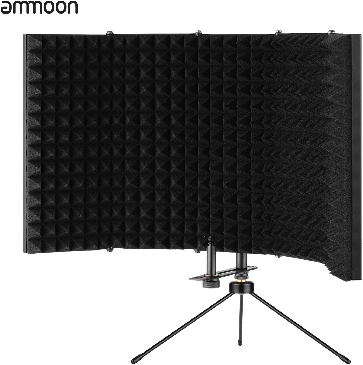 ammoon Microphone Isolation Shield Compact Foldable Tabletop Isolation Shield with Microphone Tripod Stand Supporting Rod 5//8 Inch Screw Adapter Carrying Bag for Studio Professional Recording Singing