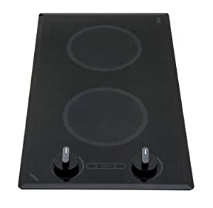 Kenyon B41516 6-1/2-Inch Mediterranean 2-Burner Trimline Cooktop with Analog Control UL, 240-volt, Black