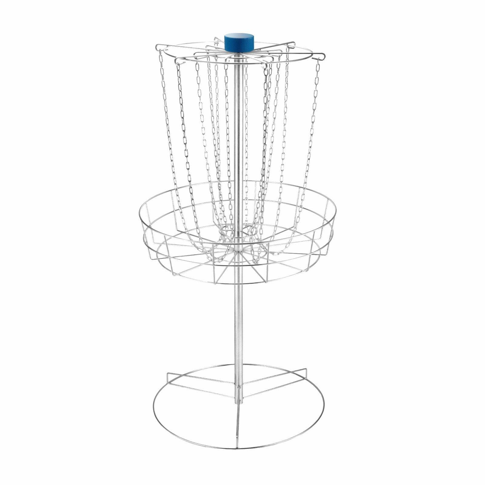 "Popsport Disc Golf Basket 55 or 56.5 Height Portable Disc Golf Basket with Double Chains Portable Practice Target Steel Frisbee Hole Disc Golf Target for Disc Golfers (56.5"" Disc Golf Basket)"