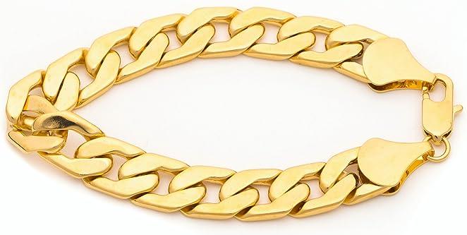 8ff9cd1eae73 Este brazalete con oro de 24K está elaborado con eslabones de estilo  cubano. Perfecto para usar en una cita romántica o para un reunión de  trabajo.