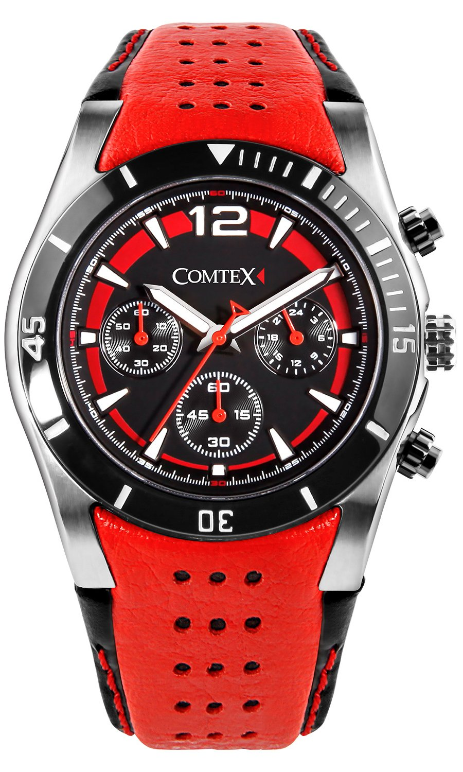 Comtex Men's Watch Cool Sports Watch Chronograph Military with Red Leather by Comtex
