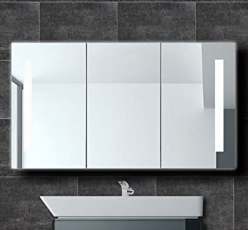 Designer Aluminium Spiegelschrank 120cm Badezimmer LED Beleuchtung ...