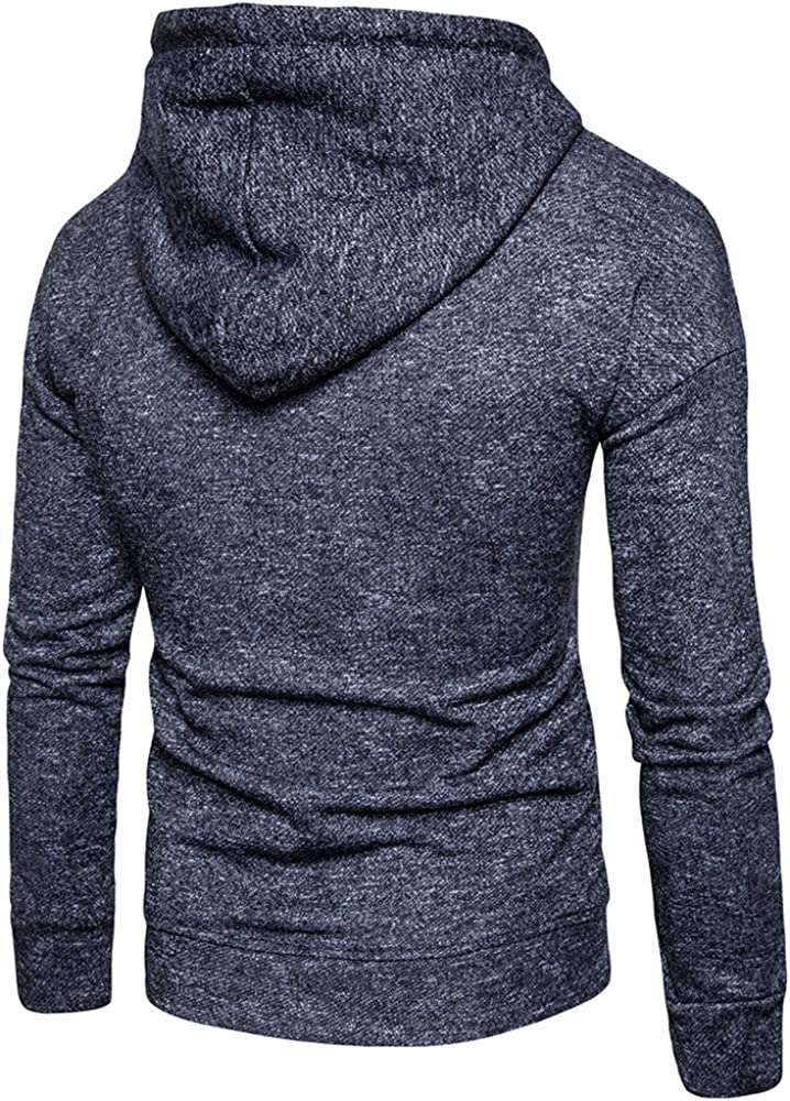 JMSUN Spring and Autumn Knitted Drop Shoulder Drawstring Pullover Hoodie