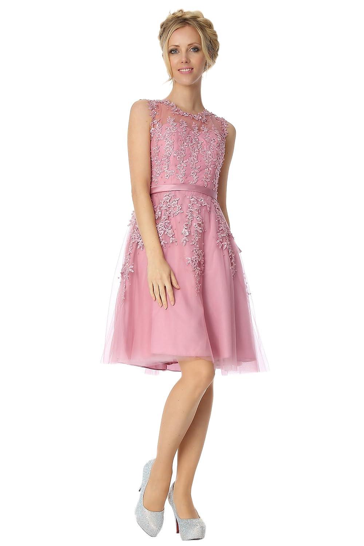 SEXYHER Appliques Knee Length Cocktail Bridesmaids Dress - COJ1805