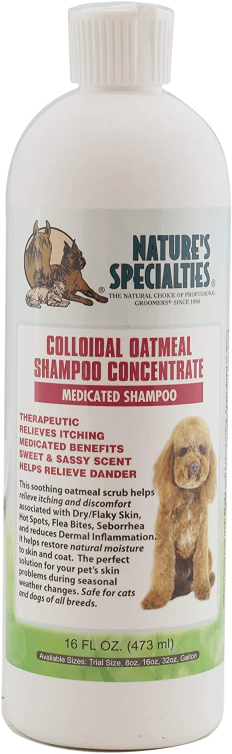Nature's Specialties Colloidal Oatmeal Shampoo for Dogs Cats, Non-Toxic Biodegradeable