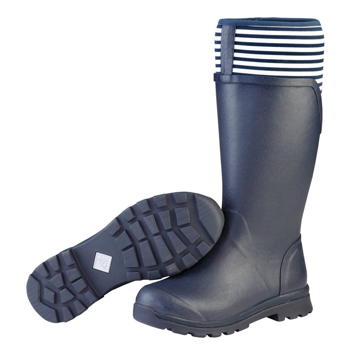 Muck Boot Women's Cambridge Tall Snow Boot, Navy With White Stripe, 7 B US