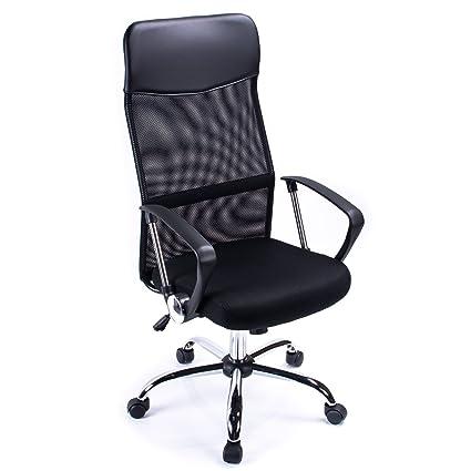 Poptoy - Silla de escritorio giratoria con respaldo alto con malla y altura ajustable para el