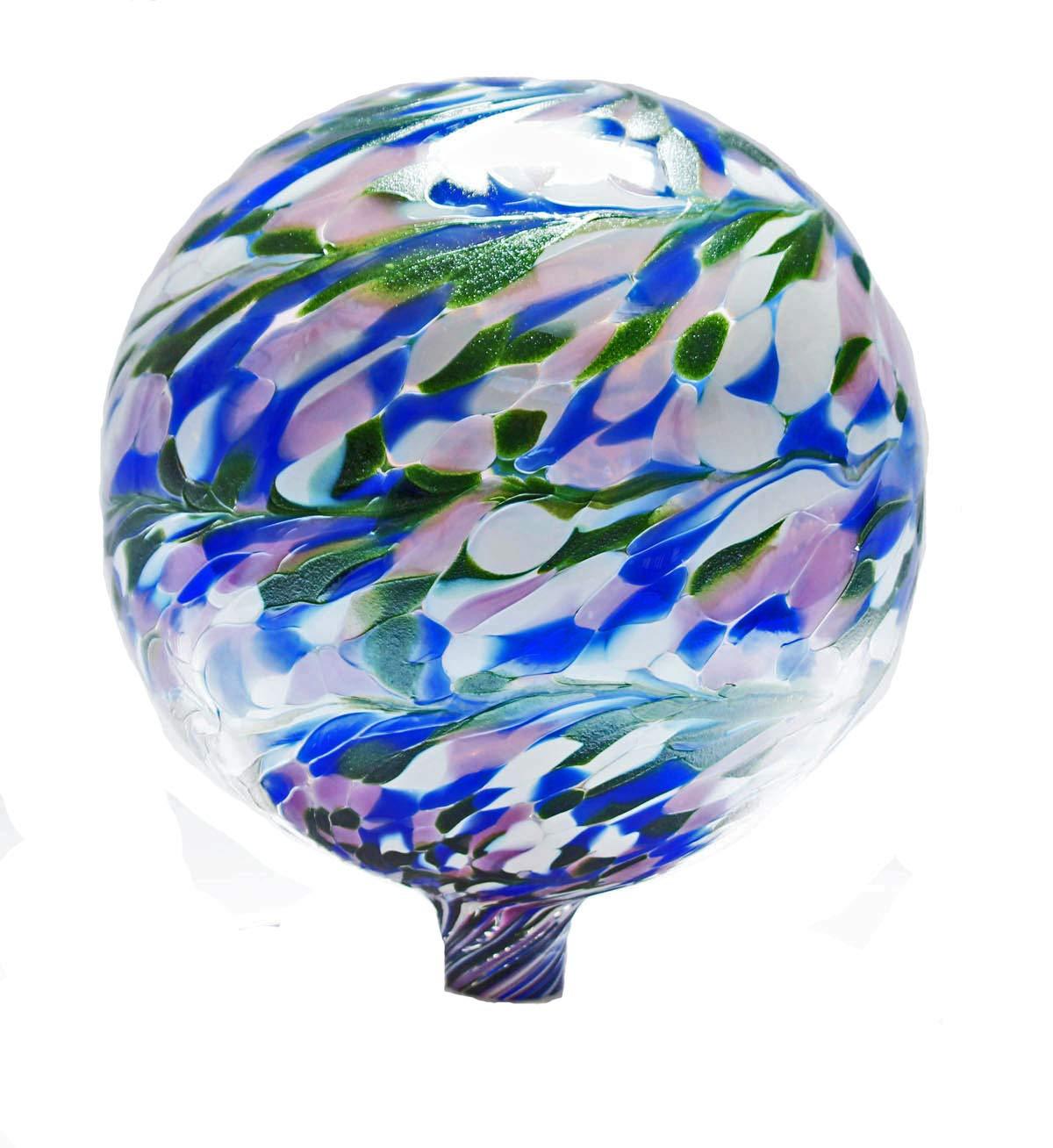 Glass Gazing Ball Garden View II 12 Inch by Iron Art Glass Designs