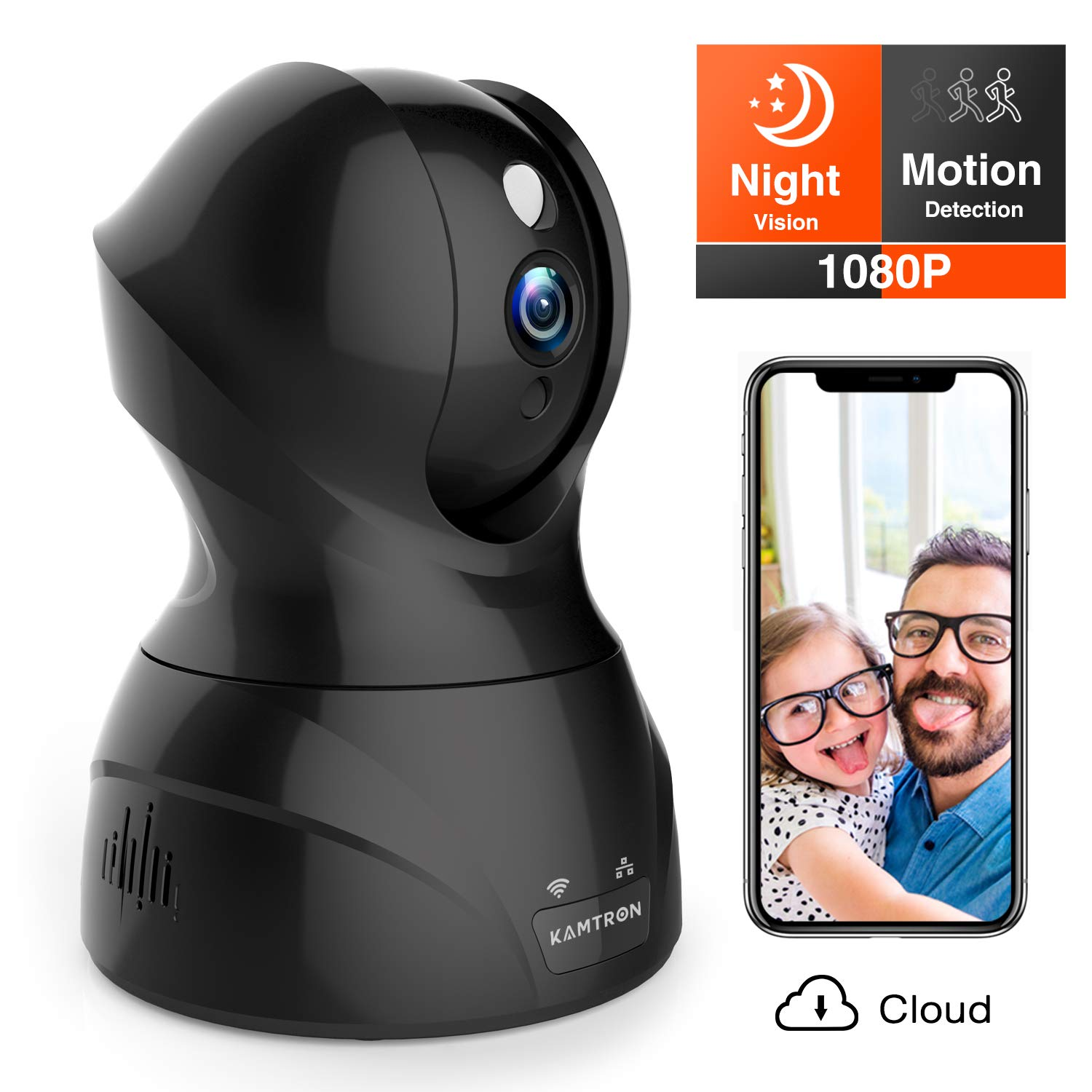 Security Camera 1080P WiFi Dog Pet Camera - KAMTRON Wireless Indoor Pan/Tilt/Zoom Home Camera Baby Monitor IP Camera with Motion Detection Two-Way Audio, Night Vision - Cloud Storage by KAMTRON