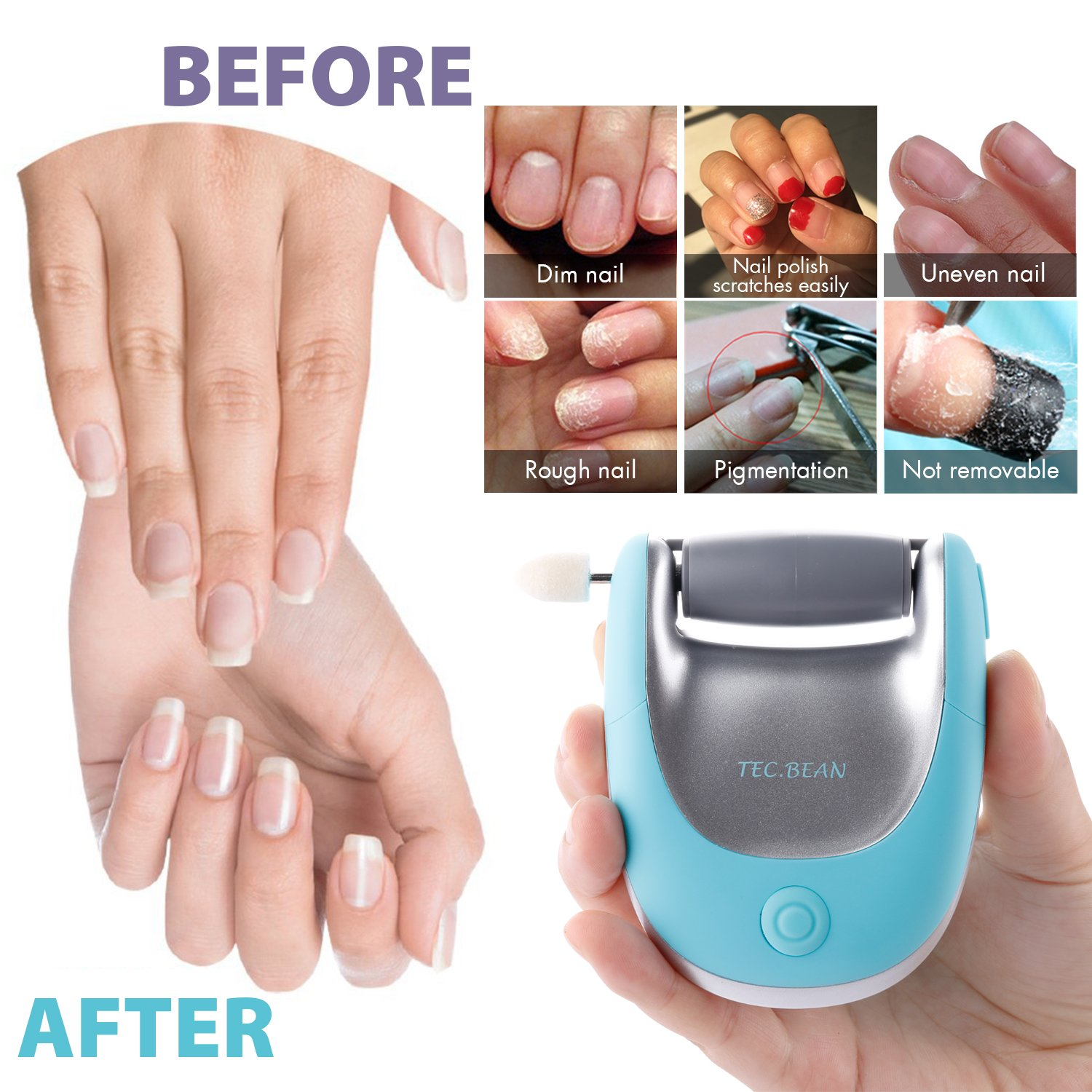 Nail polisher and callus remover nail care kit be sure to check out - 2 In 1 Electric Foot File Callus Remover Pedicure Manicure Set Foot Care Tool To Remove Dead Rough And Dry Skin Nail Drill Buffer And Polisher For Salon