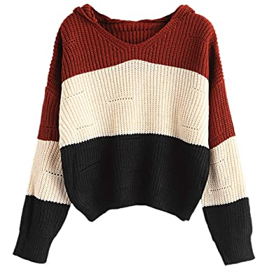 8b83aaa21561e0 DEZZAL Women s Color Block Drop Shoulder Loose Pullover Hooded Sweater ( Apricot)