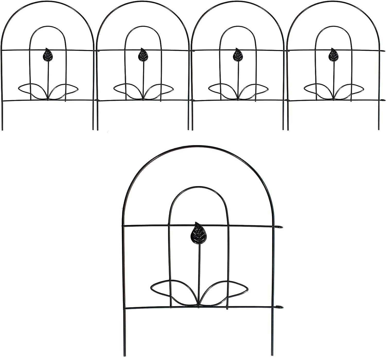 VOTENVO Patio Garden Fence Metal Landscape Edging 18in x 5ft, Rustproof Black Iron Border Fence Edging Metal Wire Fencing Animal Barrier for Patio Landscape Flower Bed