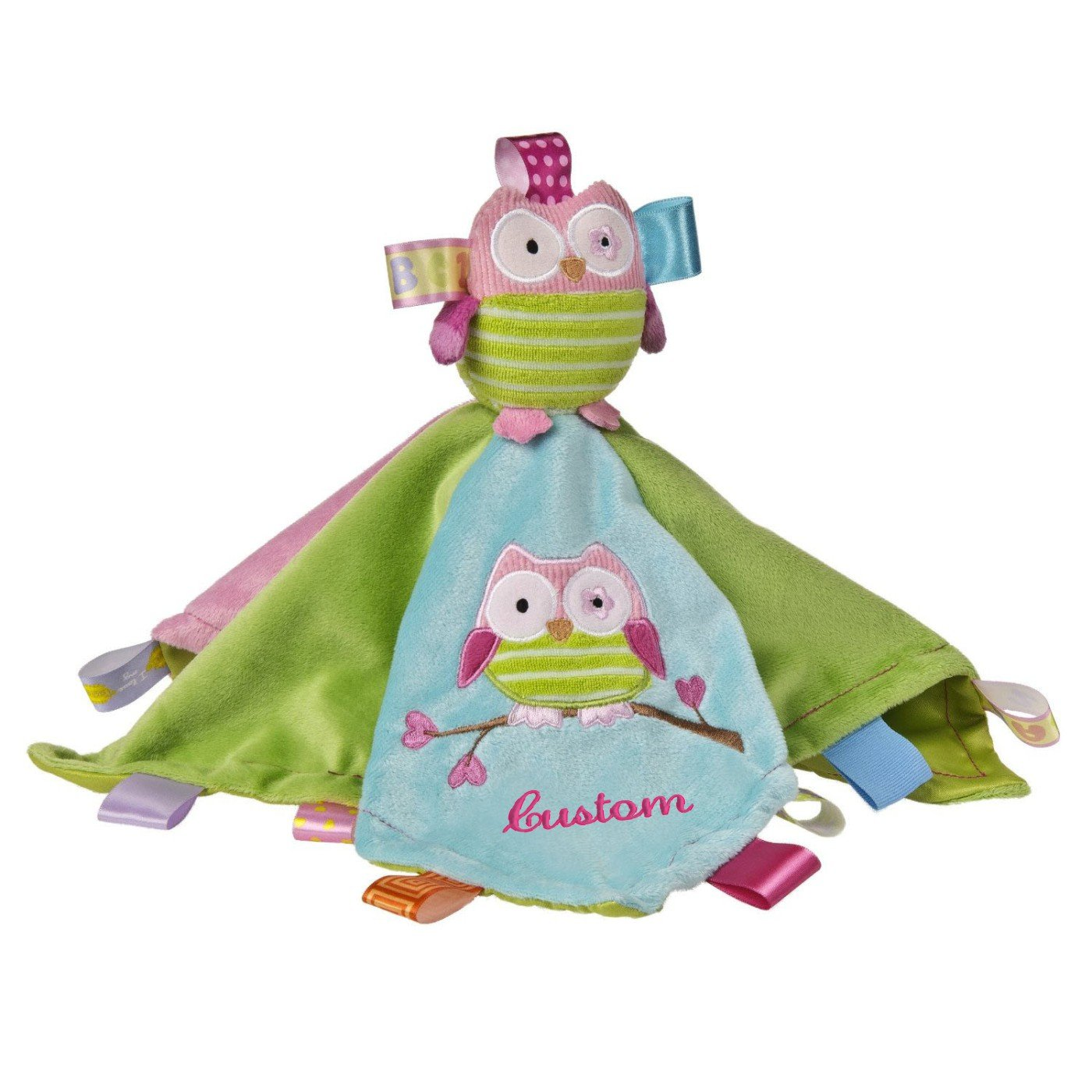 Personalized Taggies Oodles Owl Character Blanket - 13.5 Inch - Pink Embroidery, CUSTOM