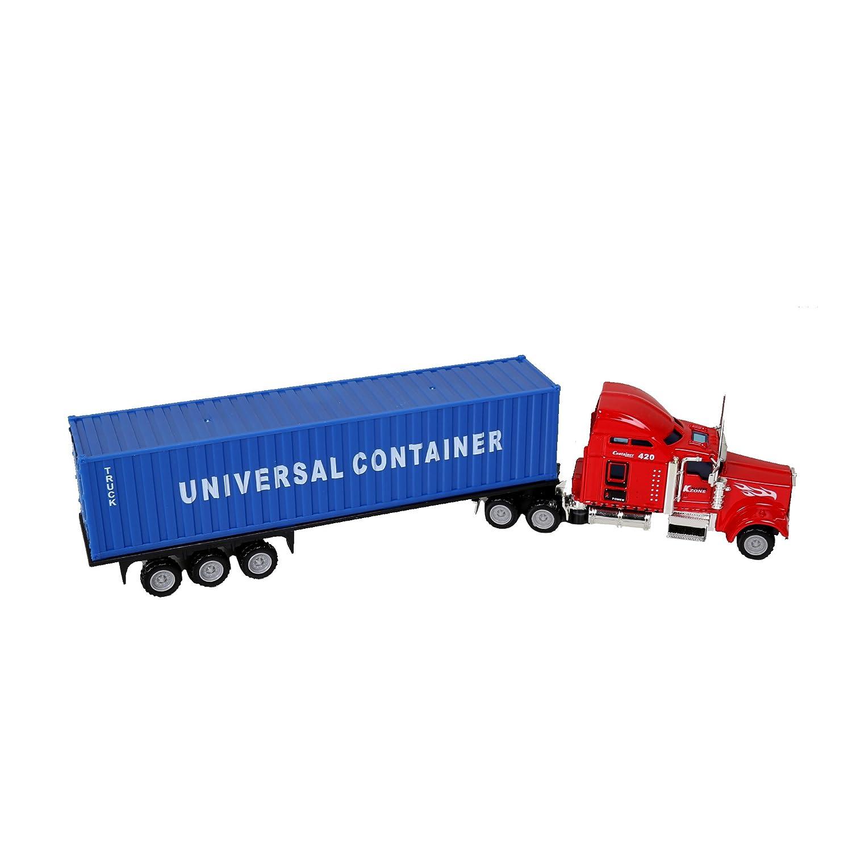 ibobby, 1:65 Die Cast Truck & Trailer, 12.5 Inches, Red/Burgundy 01077DC-REBG