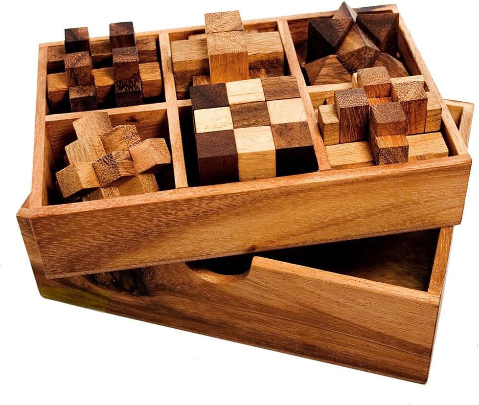 IQ MASTER - 6 Juegos de Ingenio en Madera Noble – Caja de Juegos de Paciencia – Regalos Originales para Hombres – Jueguetes de Madera de 6 Piezas – Juegos de Desafio – Rompecabezas – Obsequios Origina