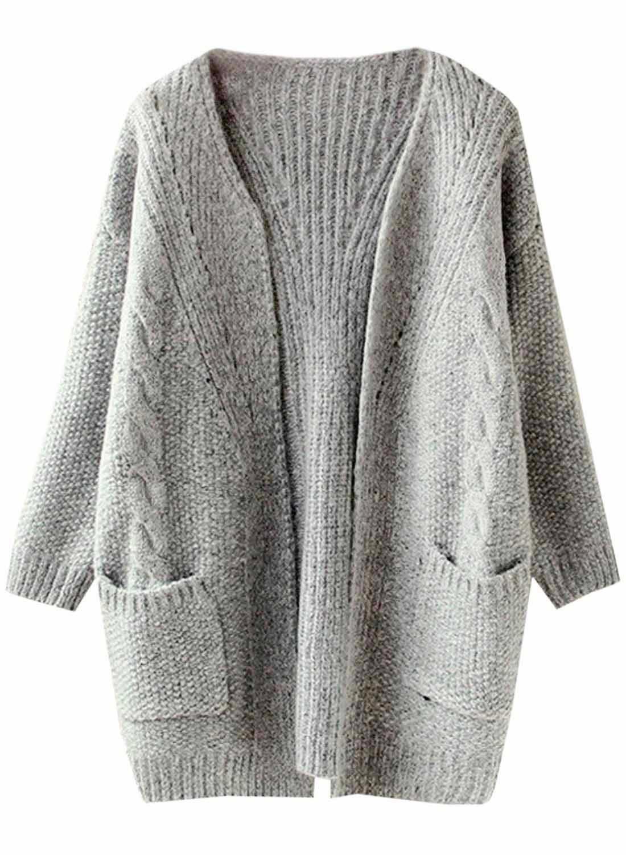 Futurino Women's Cable Twist School Wear Boyfriend Pocket Open Front Cardigan (One Size, Grey)