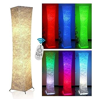 Fy-Light Lámpara de pie, tela de control remoto 132 CM lámparas modernas de pie con 2 bombillas de color RGB Lámparas de pie para la sala de estar, ...