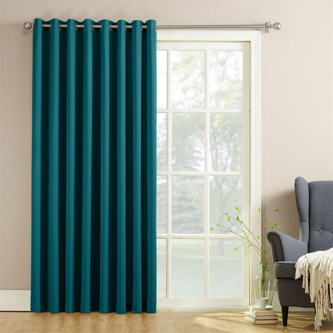 BrylaneHome Madison Room-Darkening Sliding Glass Door Panel (Marine,100'' W 84'' L)
