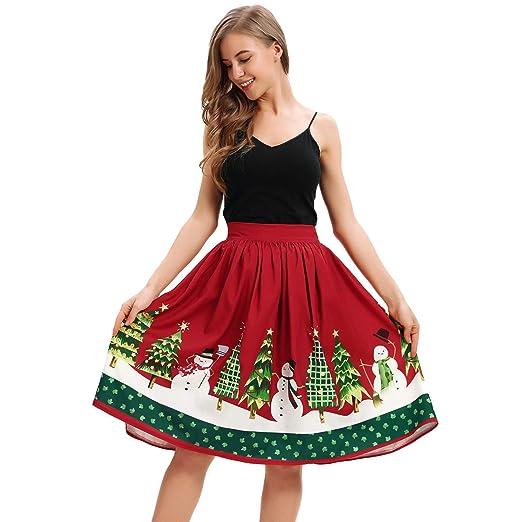 2f7035d2eb23a NREALY Skirt Womens Casual Christmas Santa Flare Elastic High Waist ...
