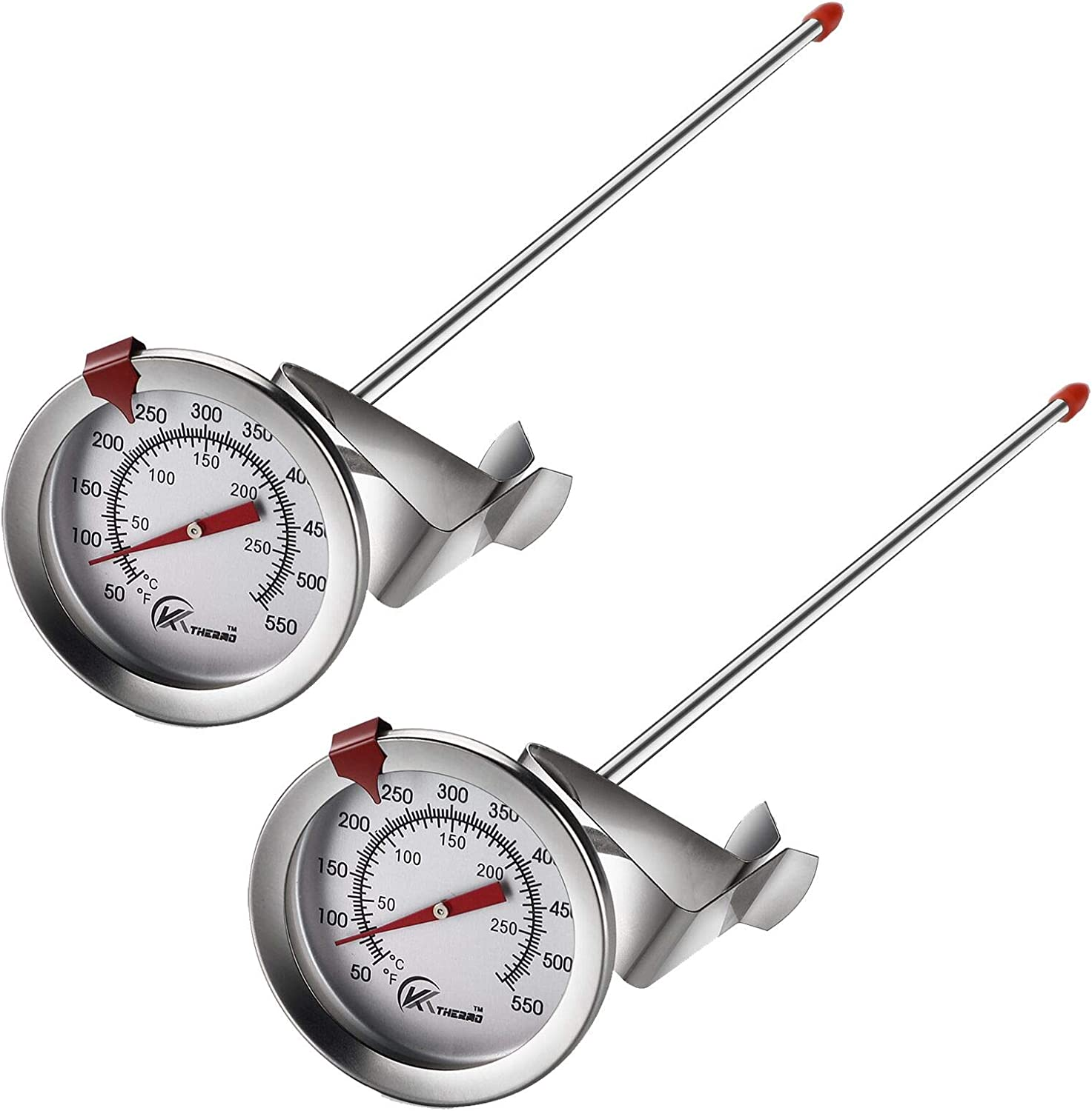 """KT THERMO Deep Fry Thermometer With Instant Read,Dial Thermometer(2-PACK),12"""" Stainless Steel Stem Meat Cooking Thermometer,Best For Turkey,BBQ,Grill"""